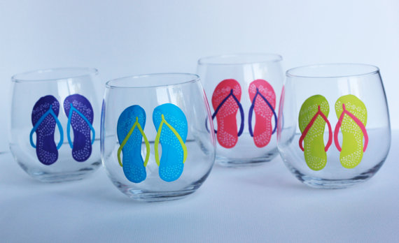 Flip Flop Stemless Wine Glasses